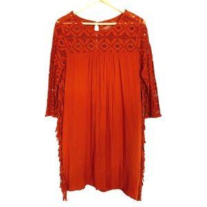 Entro Orange Lace Shift Dress